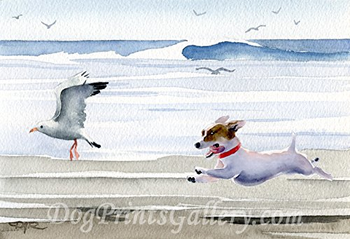 Jack Russell Terrier at The Beach Watercolor Art Print by Artist DJ Rogers