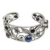 NOVICA Amethyst Cultured Mabe Pearl .925 Sterling Silver Bridal Cuff Bracelet, 'Sweet Frangipani'