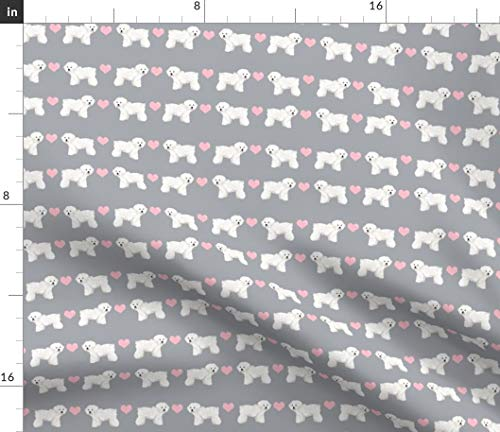 Spoonflower Bichon Frise Love Fabric - Bichon Frise Dogs Love Hearts Valentines Pets Gray Pet Portrait Gift by Petfriendly Printed on Petal Signature Cotton Fabric by The Yard