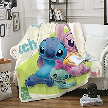 Stitch Blanket Couverture d/'Hiver pour Enfant Motif Anime 130 * 150cm Polyester a