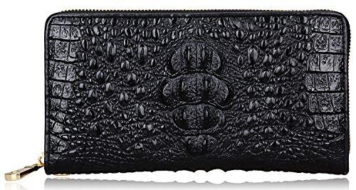 Pijushi Crocodile Wallets Embossed Leather Continental Wallets Genuine Leather Clutch WalletWristlet (23-1513 black)