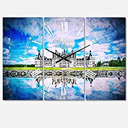 Designart Chateau De Chambord Castle in Blue Wall Art Design Traditional 3 Panel Wall Decorative Clock - Home Decorations for Home, Living Room,Bedroom, Office Decoration Multi Panel Metal Wall Clock