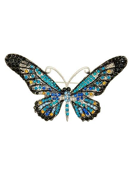 Broche para el pelo con diseño de mariposas de cristal oceánico  Amazon.es   Joyería c9a229bdc676