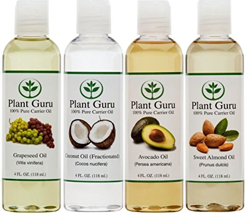 100-Pure-Carrier-Oil-VARIETY-4-PACK-4-Ounce-Bottles-Fractionated-Coconut-Oil-Grapeseed-Oil-Avocado-Oil-and-Sweet-Almond-Oil