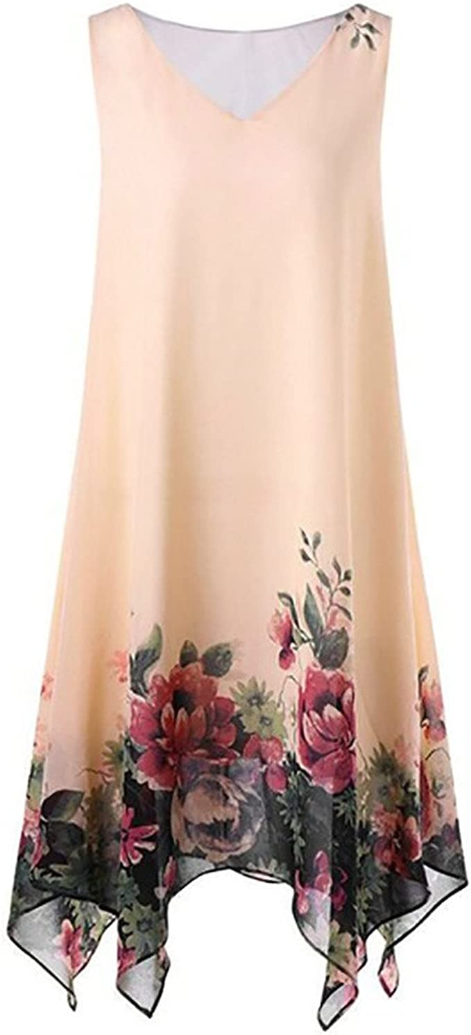 Longra Damen Chiffon Kleid Strandkleid Blumen Druckkleid Floral