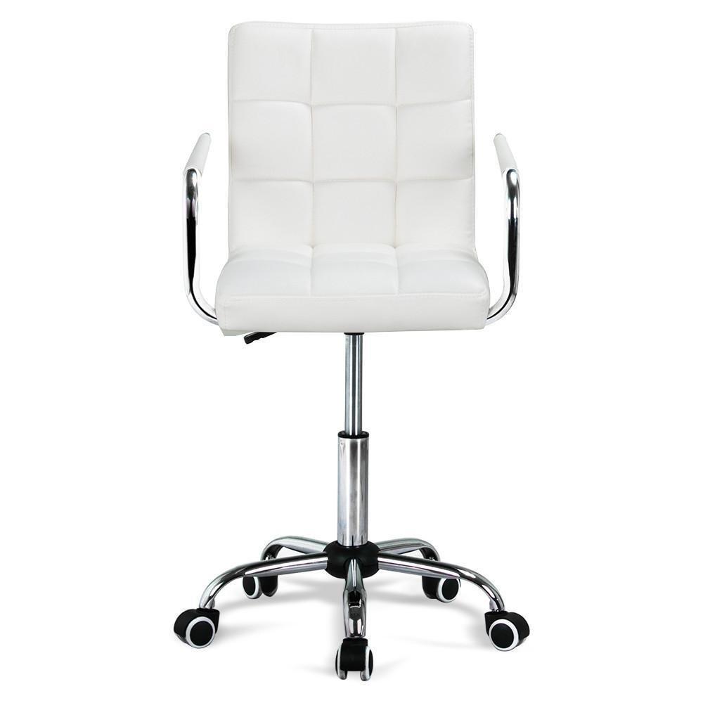 Gotobuy White Modern Office Leather Chair Hydraulic Swivel Executive Computer Desk Task Chair