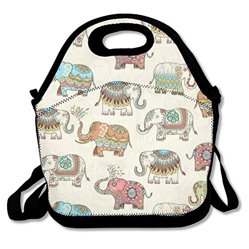 Premium Compact Lunch Bag Handbag Timeless Treasures Embellished Elephants Crossbody Bag Leakproof Insulated Interior Container for School Work Office Outdoor Picnic Meal Prep