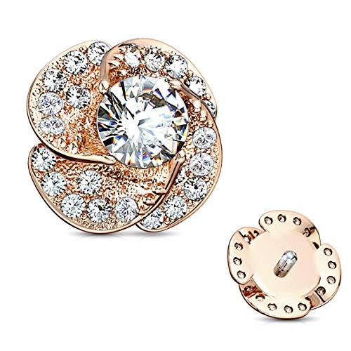 BYB Jewelry Rose Blossom Surgical Steel Dermal Anchor Top (Rose Goldtone Steel)