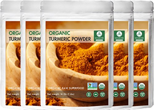Premium Quality Organic Turmeric Root Powder with Curcumin 5 lbs (5 pack of 1 pound each) | Curcuma Longa Root | Gluten-Free & Non-GMO | Anti-Inflammatory & Antioxidant by Naturevibe Botanicals