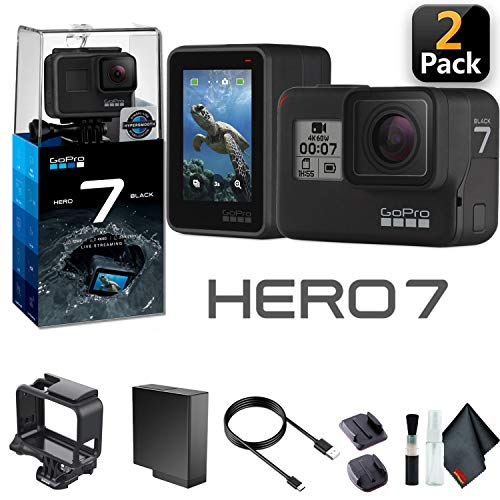 GoPro HERO7 Black (2 Pack) - Waterproof Action Camera with Touch Screen, 4K HD Video, 12MP Photos, Live Streaming and Stabilization - 2 Pack Bundle