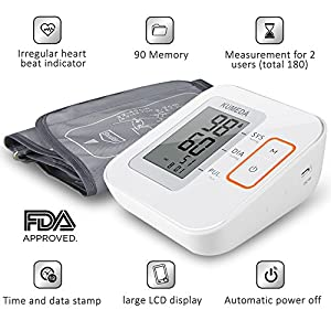 "Blood Pressure Monitor,KUMEDA FDA Approved Accurate Automatic Digital Upper Arm Style Blood Monitor with Gray Cuff(Fits 8.7""-15.7"" Size Standard and Large Arms) Included Zipper Case and AC adapter"