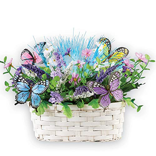 Fiber Optic Butterfly Floral Basket Tabletop Accent - Color Changing Arrangement in White Woven Basket for Any Room in Home
