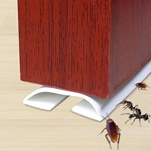 Under Door Draft Stopper,Self-Adhesive Silicone Door Bottom Seal Strip Door Gap Blocker Excluder,39((White)