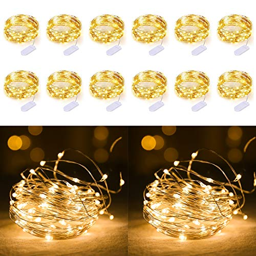 12 Pack 20 Mini Leds String Lights, 7.2Ft Waterproof Copper Wire Fairy Lights Battery Operated(Included), for Bedroom Patio Dorm Room Outdoor Wedding Party (Warm White)