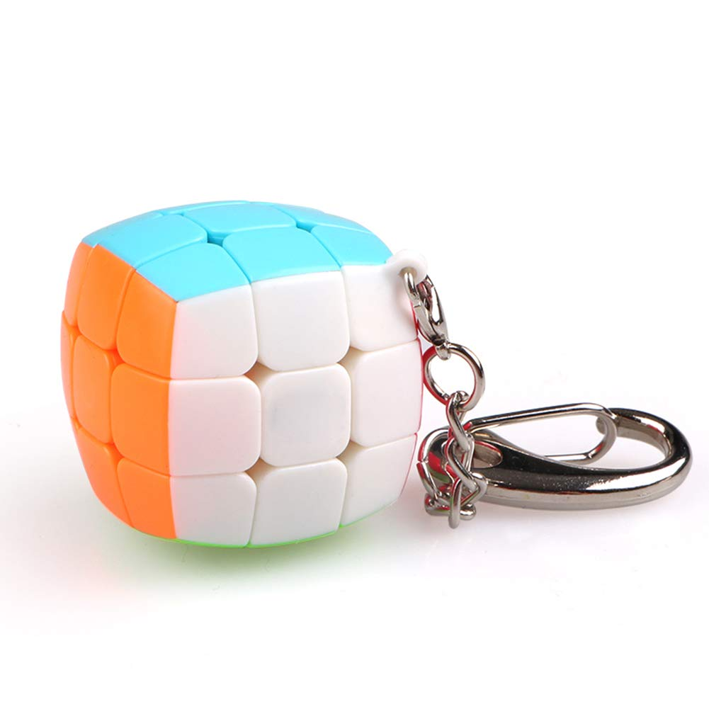 JIAAE Mini 3X3 Puzzle Rubik's Cube Colorful Professional Children Competition Bread Rubik Keychain Hanging Ornament