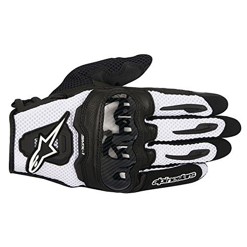 Alpinestars SMX-1 Air Mens Motorcycle Gloves - Black/White - Large Black White Motorcycle Gloves