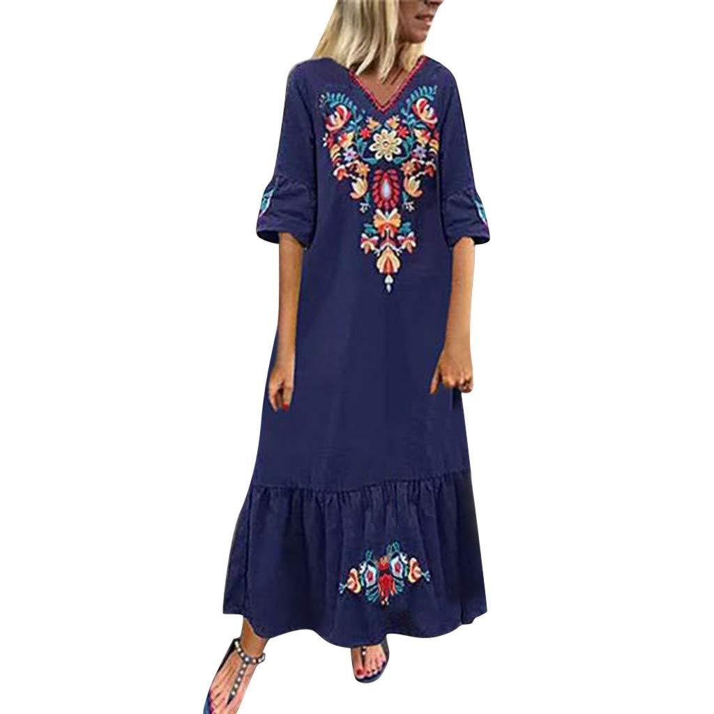 Benficial Women Casual Boho Floral Embroidery V-Neck Ruffled Linen Maxi Kaftan Dresse 2019 Summer Blue by Benficial