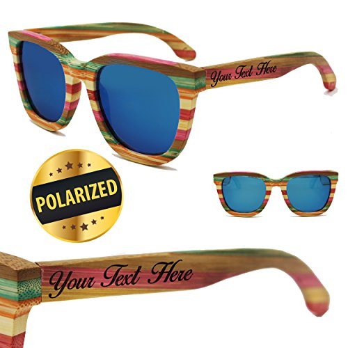 Custom Engraved Wood Polarized Sunglasses - Premium Personalized Wooden Sun Glasses Gifts for Wedding Party, Groomsmen, Bridesmaid, Men, Women (Rainbow - 2 arms engraved)