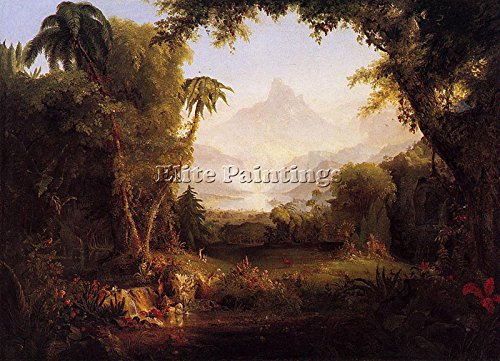 COLE THOMAS THE GARDEN OF EDEN 1828 ARTIST PAINTING OIL CANVAS REPRO ART DECO 24x36inch (Thomas Cole Oil)