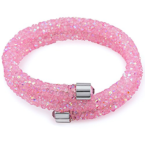 Silver & Post NEW! Pink Bangle Wrap Bracelet Design with Crystals from Swarovski, Gift Box Included by Silver and Post
