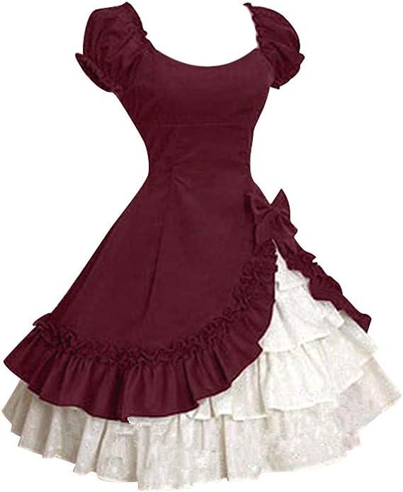 Beladla Vestido De Mujer Arco Ruffle Disfraz Traje Medieval para ...