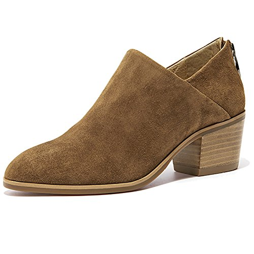 Toe Heel Damen Tobillo Stacked Puntius Occidental Suede Bootie Back Zipper Brown Odema xOqdXaX
