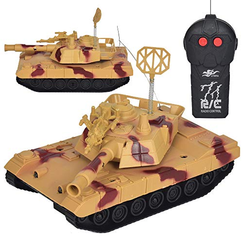 - Dreamyth- RC Tank Remote Control Military Battle Tank Toys LED Light 360° Rotate for Kids Gift (Yellow)