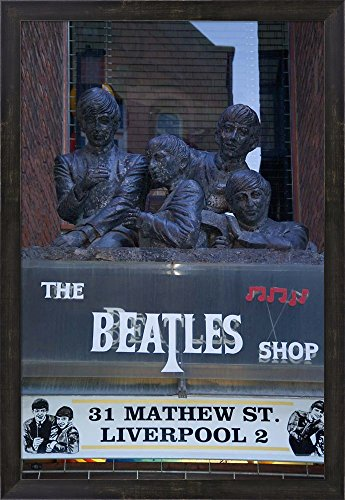 The Beatles Shop, Mathew Street, Liverpool, England by Paul Thompson / Danita Delimont Framed Art Print Wall Picture, Espresso Brown Frame, 21 x 30 - Shop Liverpool 3 Street