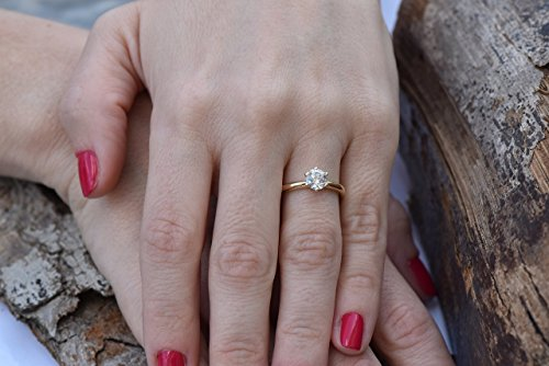 1 carat round diamond engagement rings for women Art deco style Solitaire ring 14K Yellow Gold SI3-I1 G-H ()