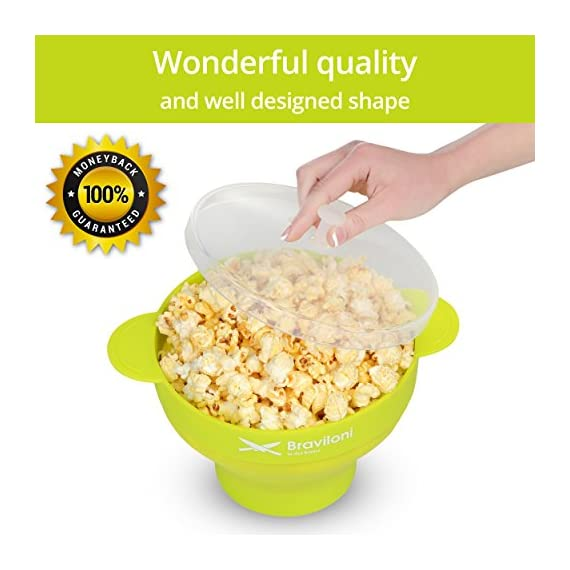 Popcorn Maker 2 ♨ DELICIOUSNESS IN MINUTES: The Braviloni microwave popcorn popper with lid whips up to 14 cups of popcorn in under 4 minutes; all without having to deal with the slowness of a stove top popcorn maker, the noisiness of electric hot air poppers, or the potentially harmful lining of microwavable popcorn bags. ♨ EASY TO USE: Simply add kernels to the quick pop maker, add seasoning, and place in the microwave. This is one of the most convenient popcorn poppers for home use thanks to the cool-touch handles for comfortable handling and graduated markings on the inner side of the bowl. ♨ COMPLETELY TOXIN FREE: Made using 100% FDA-approved food-grade silicone that is completely BPA-free, this is the best popcorn popper for making a healthy treat that the entire family will love. You can opt to use oil or skip on it entirely, making it perfect for those looking for popcorn poppers that use oil or poppers that can do without.