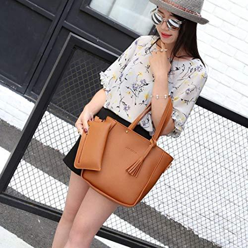 Bag Crossbody Tote Handbag Black Pieces Women Brown Wallet Four Set Kanpola Four Shoulder Bags wqgzRf8v8n