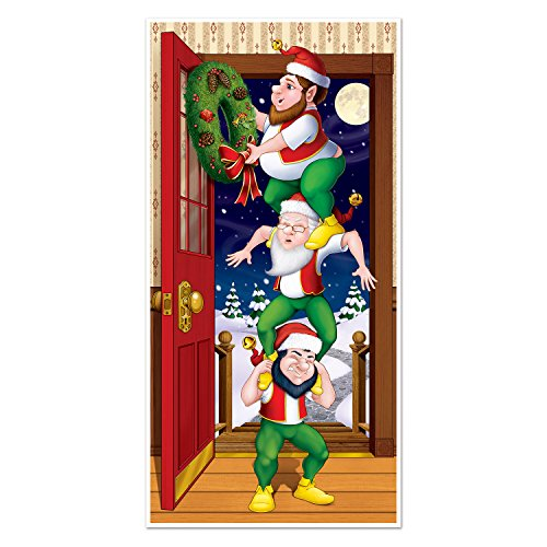 the door cover depicts three naughty and merry elves on top of each other while theyre decorating the door for christmas