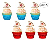Moana Cupcake Toppers Wrappers Party Supplies - Luau Hawaiian Tropical Birthday Cake Decorations