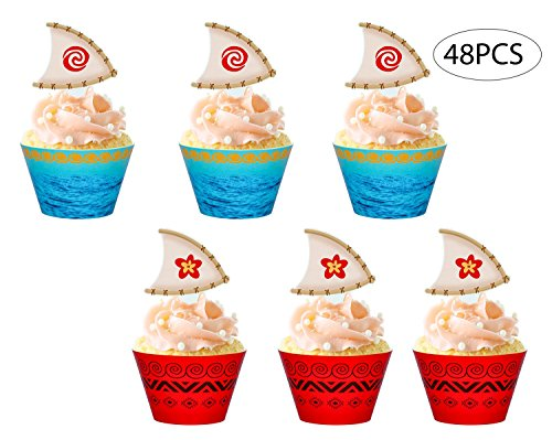 Moana Cupcake Toppers Wrappers Party Supplies