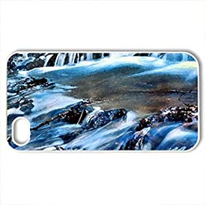 Blue River - Case Cover for iPhone 4 and 4s (Rivers Series, Watercolor style, White)
