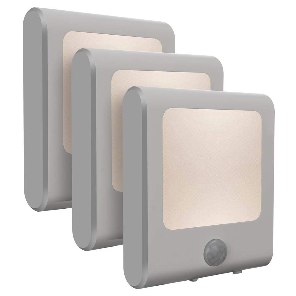 [3Pack] Vintar Motion Sensor Dimmable LED Night Light, Plug-in Nightlight with Auto Dusk to Dawn Sensor, Adjustable Brightness Warm White Lights for Hallway, Kids Room, Kitchen, Stairway, Bathroom by VINTAR