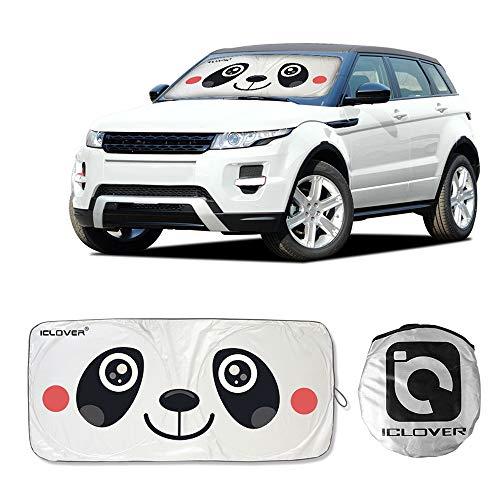 DiDaDi Car Windshield Sunshade with Cartoon Eye Panda, Auto Sun Shade Foldable Sun Visor Protector Available UV Ray Reflector Shields to Keep Vehicle Cool Damage Free Protect Kids Baby Pets (59x33)