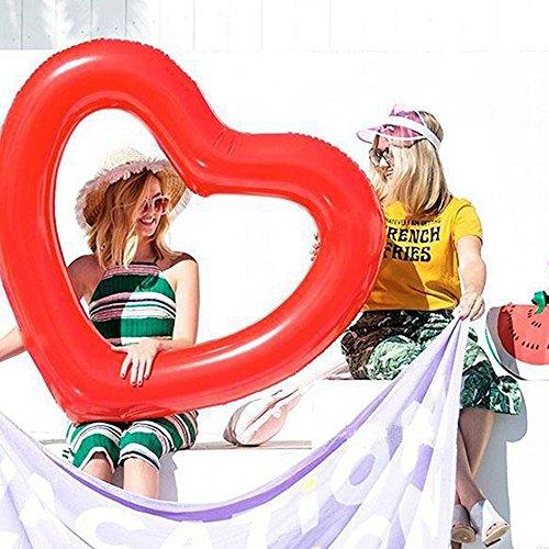 ED-Lumos Flotador Hinchable Grande Forma de Corazón Colchonetas Piscina 111CMx115CM Color Rojo: Amazon.es: Juguetes y juegos