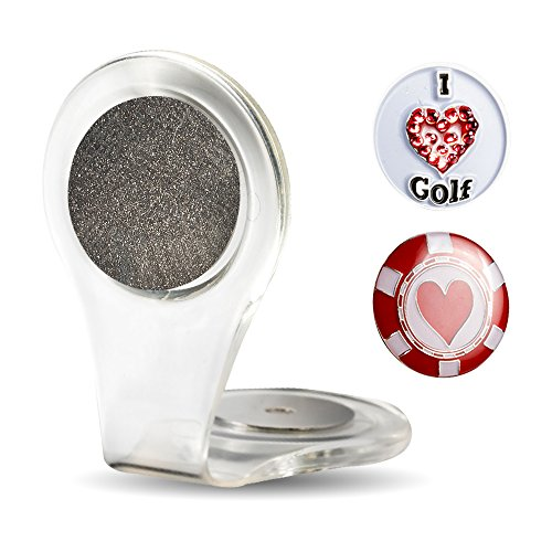 - lifetoenjoy Golf Ball Marker Clip -Crystal heart marker - Attach To Your Pocket Edge, Belt, Clothes - Strong, Easy To Use Magnetic Mechanism - Transparent Color To Match With Anything