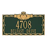 Whitehall Personalized Indoor/Outdoor Cast Irish Claddagh Address Plaque Sign with House Number and Street Name (Green Gold)