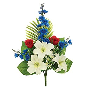 Napco Delphinium Lily Red, White, And Blue 18 x 24 Polyester Artificial Flower Stem 6