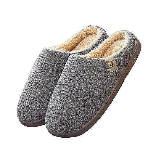 TELLW Winter Baumwolle Hausschuhe Männer und Frauen Herbst Winter Süß Warme Dicke Plüsch Hausschuhe Gray