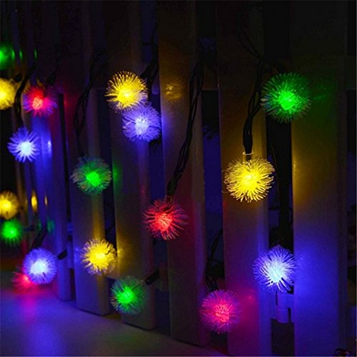 TechCode Solar String Lights, Waterproof Solar Powered LED Fairy Lamps String Lights Fur Snow Ball Lighting for Indoor/Outdoor Patio, Garden, Home, Wedding, Pathway, Party Decorations (Multi-Colour) by TechCode