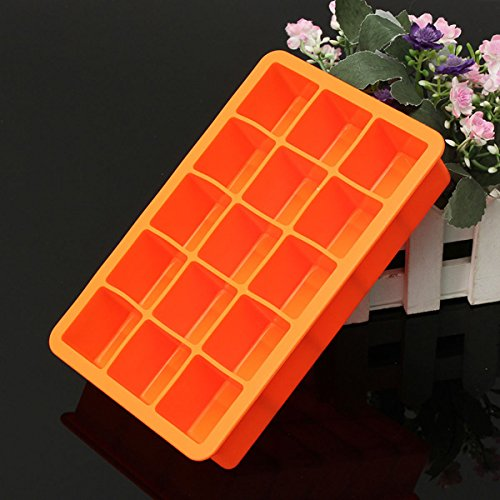 [dipshop Silicone 15 Square Cube Ice Tray Mold Pudding Jelly Mould Party Bar (Orange)] (Homemade Penguin Costumes)