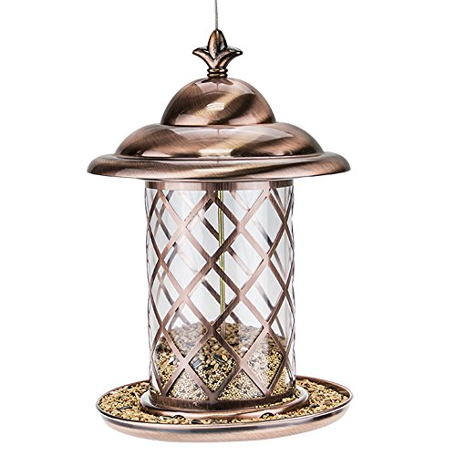 Hanging Gazebo Bird Feeder (Copper Panorama Wild Bird Feeder Gazebo Hanging For Finches Bird Seed And More,Great For Attracting Birds Outdoors,A)