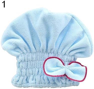 Blue taglia unica Lsgepavilion donna Bowknot Soft coral velvet micro-fiber turbante Cap capelli essiccazione cappello spa asciugamano