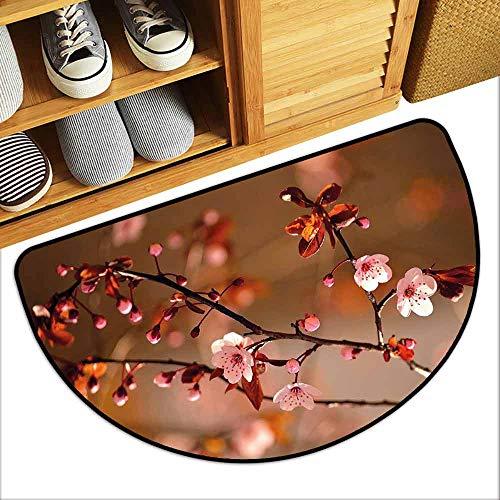 G Idle Sky Nature Interior Door mat Cherry Blossom Sakura Tree Branches Flowering Japanese Flourishing Print Hard and wear Resistant W29 x L17 Light Pink Dark Coral