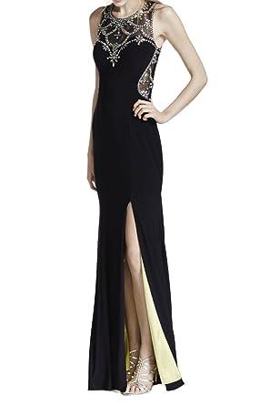La Mariee Alluring Rhinestone Side Split Formal Evening Dresses Party Dresses-2-Black