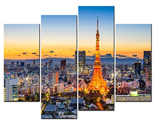 (SmartWallArt - City Landscape Paintings Wall Art Tokyo Japan Skyline at Tokyo Tower in The Dusk 4 Panel Picture Print on Canvas for Modern Home Decoration)