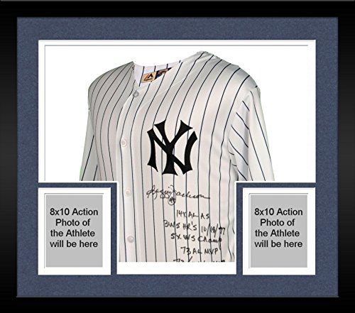 Framed Reggie Jackson New York Yankees Autographed Replica White Jersey with Multiple Inscriptions - Limited Edition of 44 - Fanatics Authentic Certified